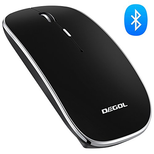 DEGOL Ultrathin Wireless Bluetooth Version 3.0 Mouse with 1600 DPI, Built-in Rechargeable Lithium Battery, for Win OS, MAC OS and Android 4.0 OS UP – Black