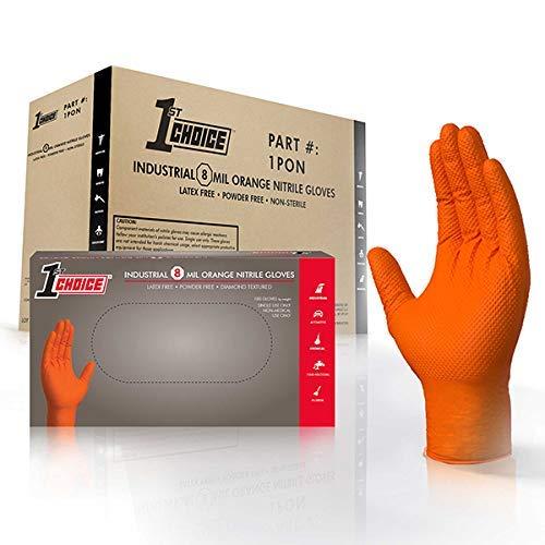 1st Choice Premium Orange Nitrile Disposable Gloves, Diamond Texture, Case of 400 - Industrial Grade, Latex-Free