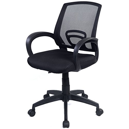 Goplus Morden Ergonomic Mesh Computer Office Chair Desk Task Midback Task Black Swivel Chair