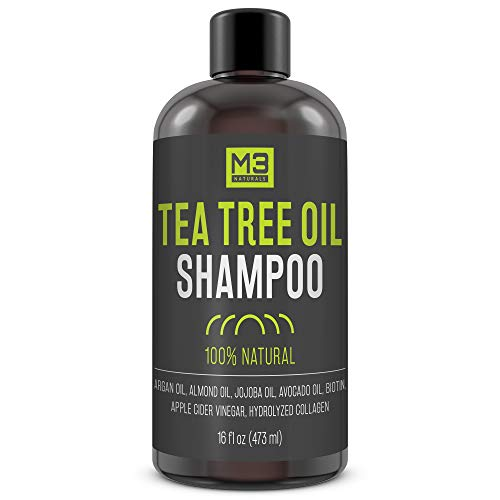 M3 Naturals All Natural Tea Tree Oil Shampoo Infused with Biotin Collagen Apple Cider Vinegar for Dry Itchy Flaky Irritating Scalp Dandruff Head Lice and Thinning Hair Hydrating Sulfate Free 16 OZ