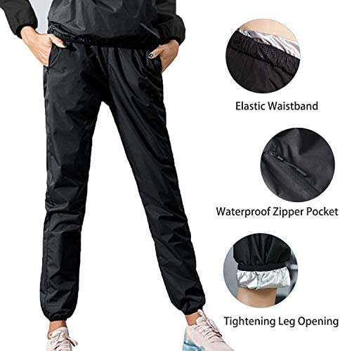 Junlan Sauna Suit for Women Sweat Sauna Pants Weight Loss Jacket Gym Workout Vest Sweat Suits for Women 2