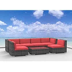 Urban Furnishing 7 Piece Patio Furniture Sofa Sectional Couch Set - Coral Red