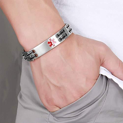Lam Hub Fong Free Engrave Adjustable Medical Bracelets Mens Emergency ID Bracelets for Women Kids Titanium Steel Medical Alert Bracelets deal 50% off 41YRXyZT0tL