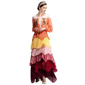 Zhongsufei-WD Women's Cocktail Dresses Spring And Summer Bird Embroidery Gradient Long Sleeve Bohemian Cake Skirt Dress Evening Swing Party Dress (Color : Photo Colo 2, Size : L) 41YRawfyngL