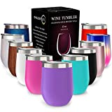 CHILLOUT LIFE Stainless Steel Tumbler with Lid & Gift Box (Stainless Steel Wine Glass Tumbler) (Purple, 12 oz)