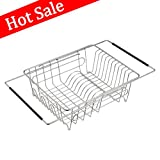 DECLUTTR Over Sink Dish Drying Rack, Kitchen Expandable Dish Rack for Countertop and Vegetables, Stainless Steel Dish Drainer