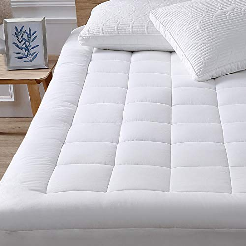 oaskys Queen Mattress Pad Cover Cooling Mattress Topper Cotton Top Pillow Top with Down Alternative Fill (8-21' Fitted Deep Pocket Queen Size)