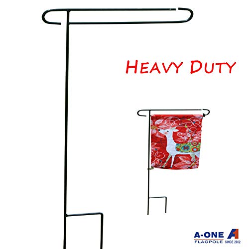 A-ONE Garden Flag Pole Stand, 40' H x 16.5' W Heavy Duty Garden Flag Pole Holder with Garden Flag Stopper and Anti-Wind Clip, Weather-Proof Material Yard Flag Pole Without Flag