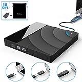 External USB 3.0 CD DVD Portable Drive,Tesecu Ultra-Thin Touch Control CD DVD Burner High Speed Data Transfer for PC Laptop Desktop MacBook Windows XP/Win 7/Win 8/Win10/Vista/Linux/Mac OS and More