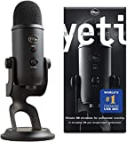 Blue Yeti USB Mic for Recording & Streaming on PC and Mac, 3 Condenser Capsules, 4 Pickup Patterns, Headphone Output and Volume Control, Mic Gain Control, Adjustable Stand, Plug & Play - Blackout