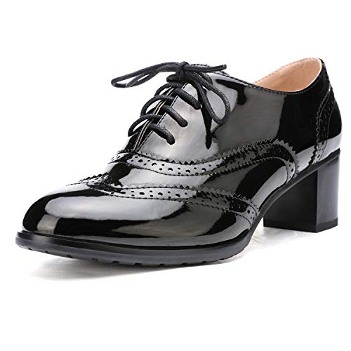 Odema Womens PU Leather Oxfords Wingtip Lace up Mid Heel Pumps Shoes