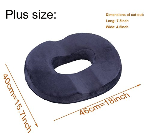 HOVERAREA Donut Seat Cushion, Memory Foam Comfort Tailbone Cushion Pillow for Hemorrhoids, Prostate, Pregnancy, Post-Surgery Relief(Darkblue) deal 50% off 41Yj8dxibgL