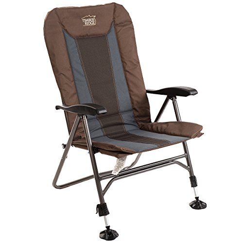 Timber Ridge Camping Chair Folding Heavy Duty with Adjustable Reclining Padded Back and Legs Supports 300lbs
