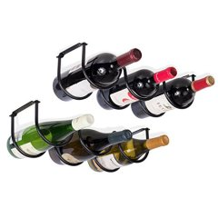 Black Iron Under-Cabinet Wine Racks for Six Bottles
