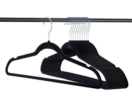 Home-it Premium Velvet Hangers Heavy duty Clothes Hook Swivel 360-Ultra Thin, 50 pack, Non Slip Black Suit, 50 pack