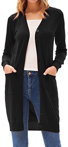 GRACE KARIN Women's Long Sleeve Button Cardigan Sweaters Outwear with Pockets