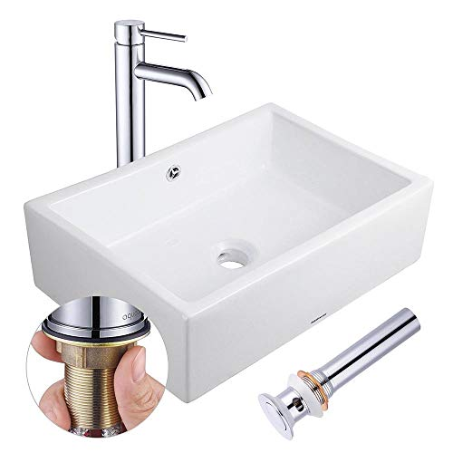 "Aquaterior Rectangle Porcelain Ceramic Bathroom Vessel Sink w/Overflow+12 1/2"" Chrome Faucet Lavatory+Drain Set"