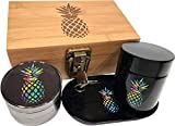 Rainbow Pineapple Stash Box Combo - 2.5' Full Size Titanium 4 Part Herb Grinder - UV Glass stash jar - Engraved Wood Bamboo Box - Smell Proof and Airtight (Pineapple)