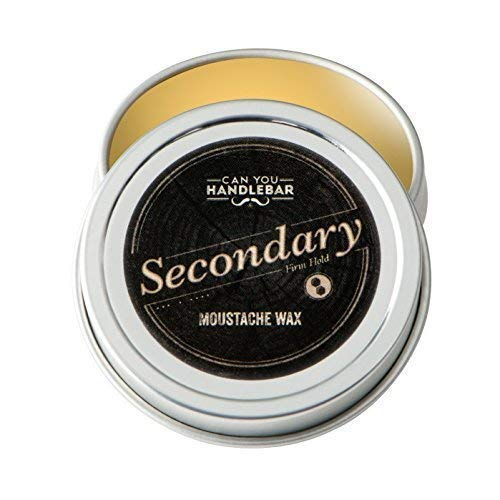 Secondary Strong Hold Moustache Wax For Men | All-Natural Ingredients | 1 Oz. Stainless Steel Tin