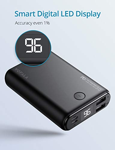 WOFALA-Power-Bank-10000mAh-Portable-Phone-Charger-18W-PDQuick-Charge-30-Dual-USB-Output-Input-with-LED-Digital-Display-External-Battery-Pack-Compatible-with-iPhone-Xs-XrAndroidiPadTablet