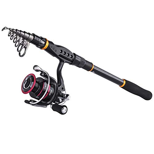 Goture Fishing Rod and Reel Combos, Carbon Fiber Telescopic Fishing Pole with Spinning Reel Sea Saltwater Freshwater for Bass Trout Salmon