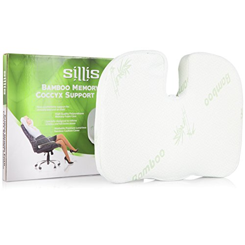 Memory Foam Seat Support Cushions: Office Desk Chair, Wheelchair & Car or Truck Driver Seat Lumbar Butt Pillow - Bamboo Sitting Cushion to Relieve Coccyx, Sciatica, Tailbone or Back Muscle Pain