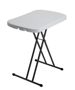 Lifetime 80251 Adjustable Folding Laptop Table TV Tray, 26 Inch White Granite