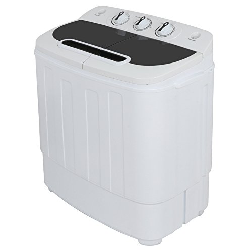 ZENSTYLE Portable Mini Twin Tub Washing machine w/Spin Cycle Dryer Compact Built-in Gravity Drain 13 lbs Capacity 2-in-1 Washer/Spinner w/Hose for Dorm College Room Apartment RV?? s Camping Traveling