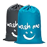 WOWLIVE 2 Pack Extra Large Travel Nylon Laundry Bag Set Storage Sturdy Rip-Stop Machine Washable Locking Drawstring Closure Heavy Duty Bag Hamper Liner 24'x36' (Blue and Grey)