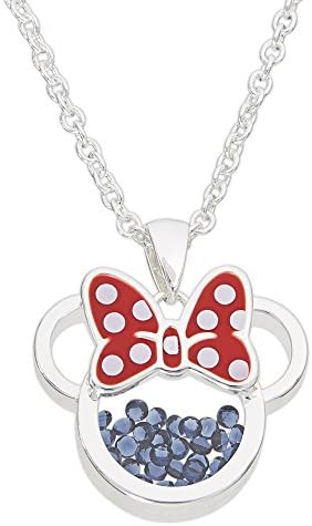 Disney Birthstone Women and Girls Jewelry Minnie Mouse Silver Plated Shaker Pendant Necklace, 18+2″ Extender
