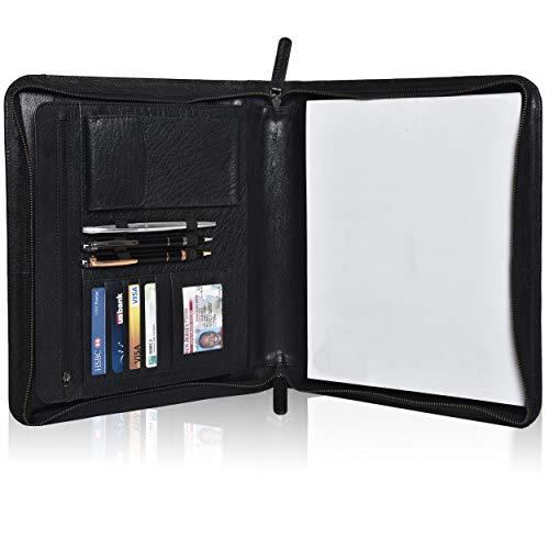 Leather Business Padfolio Portfolio for Men - Professional Executive Zippered Binder Folder 13.5 x 11 Inches Notepad Folio School Organizer for Women (Black Vintage)