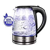 QUEEN SENSE Electric Kettle, Cordless, Glass Electric Kettle, Boil water Tea Kettle,Blue Light,1200W,Glass kettle, Hot Water Kettle,Tea Pot,Coffee pot (1.7L, GK1705A)