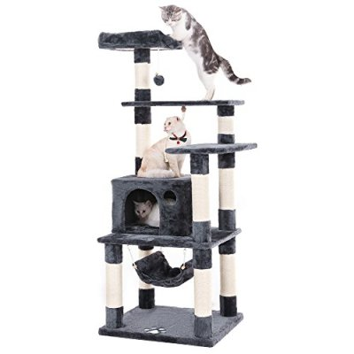 FEANDREA Cat Tree Condo Multi-level Cat Tower with Scratching Posts Kitten Furniture Play House Grey UPCT88G