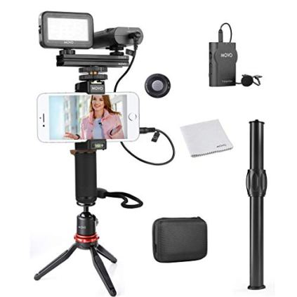 Movo-Wireless-Smartphone-Video-Kit-V2-with-Tripod-Grip-Wireless-Lavalier-Microphone-LED-Light-and-Remote-YouTube-Equipment-for-iPhone-6-6S-7-8-X-XS-XS-Max-XR-11-11-Pro-Samsung-Galaxy
