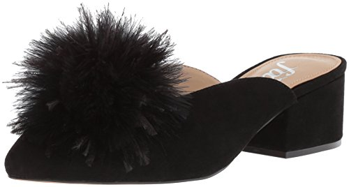 41Z7KgaRcoL A feather pom adds just the right amount of attitude to this pointed-toe mule featuring a soft suede upper and block heel Slip-on style