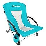 KingCamp Low Sling Beach Camping Folding Chair with Mesh Back (Cyan)