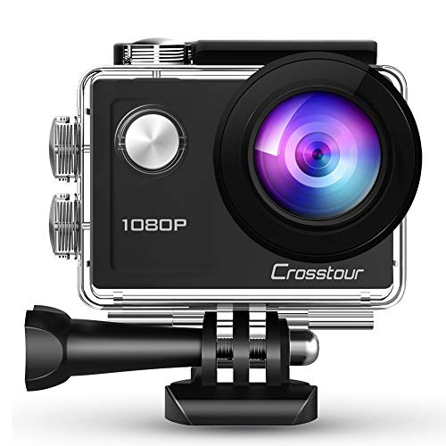 Crosstour Action Waterproof Camera 1080P Full HD 14MP Anti-Shake Time-Lapse Recording 170° Wide-Angle Helmet Camera for Diving/Skiing/Swimming with 20 Mounting Accessory Kits