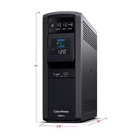 CyberPower-CP1500PFCLCD-PFC-Sinewave-UPS-System-1500VA1000W-12-Outlets-AVR-Mini-Tower-Black