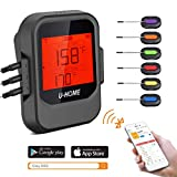 Meat Thermometer, Wireless Remote Digital Cooking Food Thermometer - Magnetic Smart Bluetooth Meat Thermometer with 6 Probe for Grilling Smoker BBQ Kitchen Baking Steak