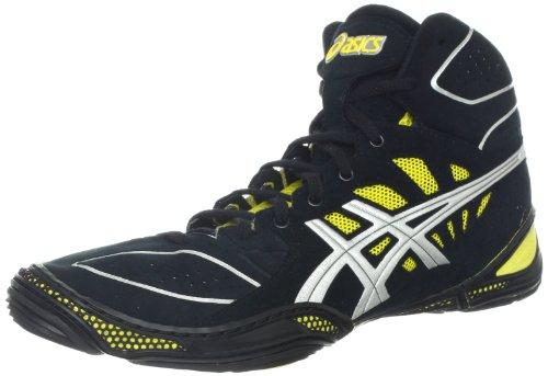 ASICS Men's Dan Gable Ultimate 3 Wrestling Shoe,Black/Silver/Yellow,11 M US