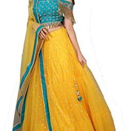 NPLASH FASHION Women's Net Semi-stitched Lehenga Choli (roop yellow-a_Blue & Yellow_Free Size)