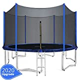 ORCC 15 14 12 10FT Kids Trampoline, TÜV Certificated Yard Trampoline with Enclosure Net Jumping Mat Spring Pad Wind Stakes Rain Cover and Pull T-Hook, Best Gift for Kids