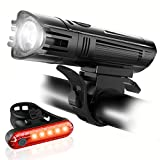Ascher Ultra Bright USB Rechargeable Bike Light, Comes with Free Back Taillight, Powerful Bicycle Front Headlight, 4 Light Modes, Easy to Install for Men Women Kids Road Mountain Cycling