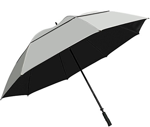 """Suntek 68"""" Reflective UV Protection Windcheater Umbrella with Vented Double Canopy (Silver/Black)"""