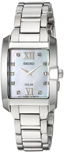 Seiko Women's Diamond Solar Japanese-Quartz Watch with Stainless-Steel Strap, Silver, 8 (Model: SUP377)