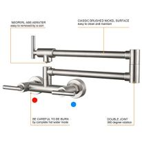 WOWOW-Pot-Filler-Faucet-Wall-Mount-Brushed-Nickel-Commercial-Kitchen-Sink-Faucets-for-Both-Hot-and-Cold-Water-Solid-Brass-Folding-Kitchen-Faucet-with-Double-Joint-Swing-Arm
