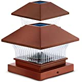 Home Zone Security Solar Post Cap Lights - Outdoor Solar Decorative Post Lights with No Wiring Required, Copper (2-Pack)