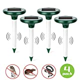 Otdair Solar Mole Repellent Stakes, Ultrasonic Rodent Repeller,Outdoor Pest Mole Repellent, Chaser Gopher,Vole Repeller Spikes for Yard,Lawn,Garden,4 Pack