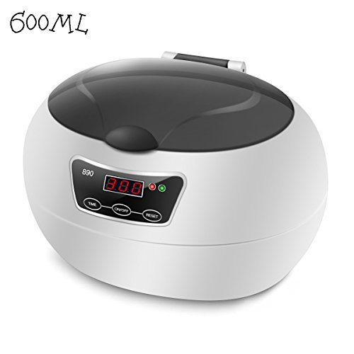 Ultrasonic Cleaner,Charminer Professional 600ML Jewelry Cleaner Machine 42 KHZ for Cleaning Eyeglasses, Watches,Necklace,Rings,Dentures,Coins,Razors With Digital Timer,Cleaning Basket,Watch Stand