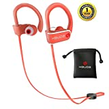 Bluetooth Headphones,Wireless Sports Earphones Hbuds H1 with Mic IPX7 Waterproof Ergonomic Stable Fit In Ear Earbuds Noise Isolating Stereo Headset 9 Hour Working Time for Running Workout Gym (Orange)